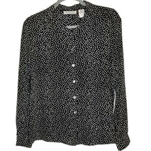 Notations black with polka dots long sleeve top, L